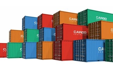 export and import: Contenedores de carga de color apiladas aislados sobre fondo blanco