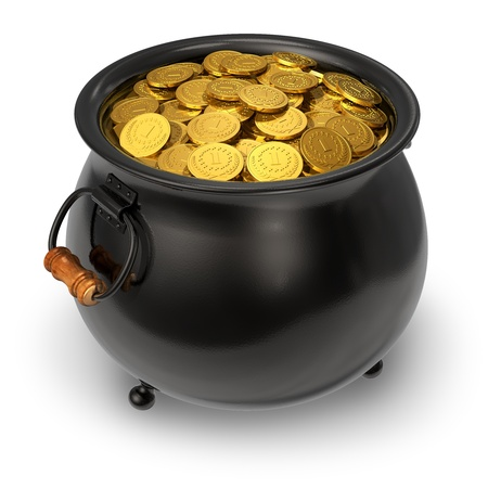 Pot full of gold coins isolated on white background Stock Photo