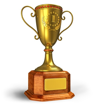 premios: Trofeo de la Copa de Oro sobre fondo blanco