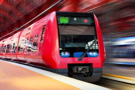commuter train: Modern high speed train with motion blur effect
