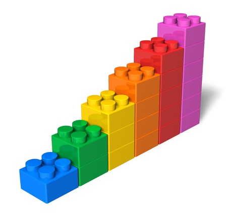 Growing bar chart from color toy blocks isolated on white background photo