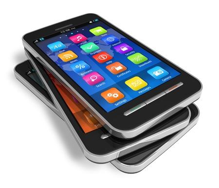touchscreen: Conjunto de pantalla t�ctil smartphones aisladas sobre fondo blanco *** dise�o de estos dispositivos es MY OWN Foto de archivo