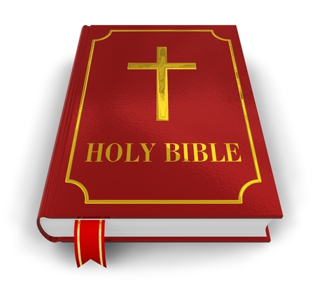bible and cross: Red Holy Bible isolated on white background Stock Photo