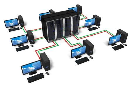 сеть: Сеть и Интернет связи концепция на белом фоне