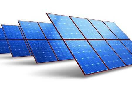 photovoltaic power station: Rows of solar battery panels isolated on white background Stock Photo