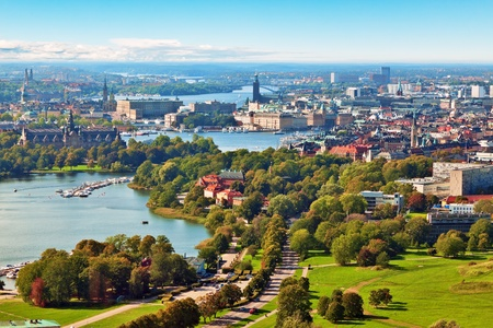 sweden: Scenic summer aerial panorama of Stockholm, Sweden Stock Photo
