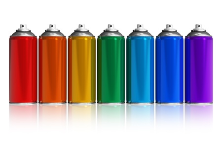 aerosol: Set of rainbow paint spray cans isolated on white reflective background
