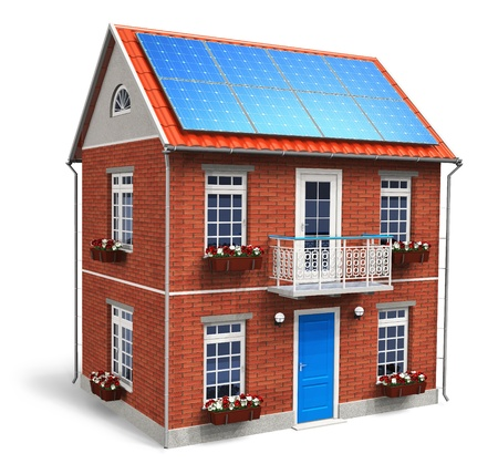 photovoltaic power station: Residential house with solar batteries on the roof isolated on white background