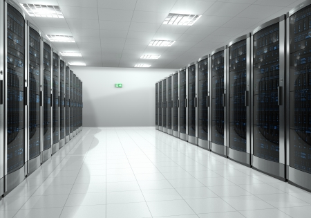 Modern interior of server room in datacenter *** DESIGN OF THESE SERVERS AND ROOM IS MY OWN AND ALL TEXT LABELS AND NUMBERS ARE FULLY ABSTRACT Stock Photo
