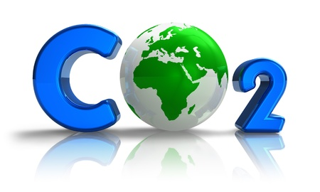 Atmospheric pollution concept: blue CO2 formula with green Earth globe isolated on white reflective background photo