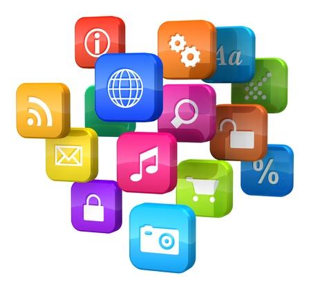 Concetto di software: Nuvola di icone di programma isolato su sfondo bianco