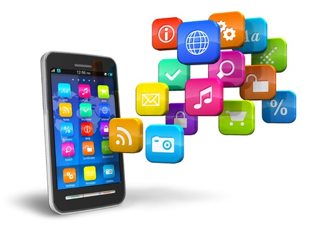 Touchscreen smartphone met een wolk van kleurrijke pictogrammen voor toepassingen op witte achtergrond Stockfoto