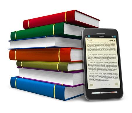 apilar: Smartphone y pila de libros de colores sobre fondo blanco