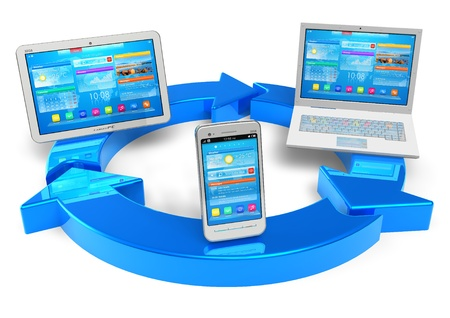 Cloud computing and wireless networking concept: white tablet PC, smartphone and laptop connected with blue round arrows isolated on white background  photo