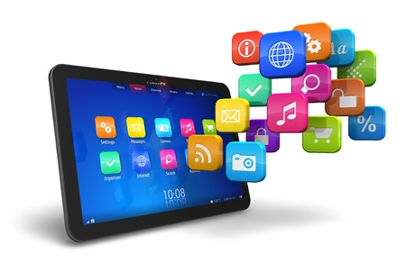 application icons: Tablet PC with cloud of colorful application icons isolated on white background