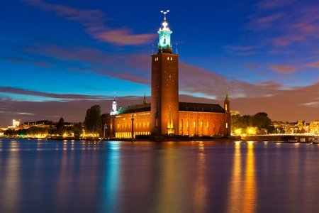 Scenic night view of the City Hall in the Old Town (Gamla Stan) in Stockholm, Sweden photo