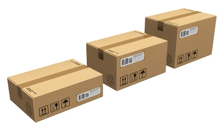 Set of different size cardboard boxes isolated on white background