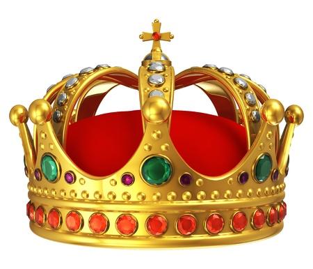 koninklijke kroon: Gouden koninklijke kroon geïsoleerd op witte achtergrond