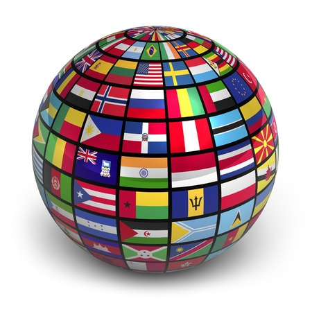 allen: Hele wereld met wereldwijd vlaggen op witte achtergrond Stockfoto