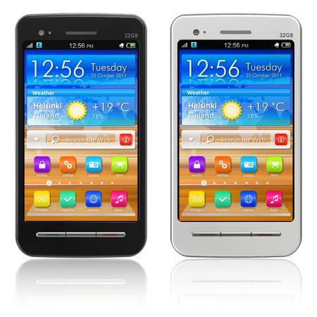mobile headset: Conjunto de smartphones con pantalla t�ctil blanco y negro aislados sobre fondo blanco reflexivo *** dise�o de estos SMARTPHONES es mi propia y todo texto etiquetas son totalmente abstracto