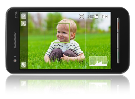 taking video: Taking pictures with mobile phone: smartphone in camera mode isolated on white reflective background *** DESIGN OF THIS SMARTPHONE IS MY OWN AND ALL TEXT LABELS ARE FULLY ABSTRACT