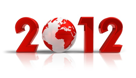 Creative 2012 New Year concept with red Earth globe isolated on white reflective background photo