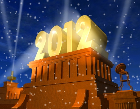 New Year 2012 celebration concept: shiny golden 2012 on pedestal in a snowy weather photo