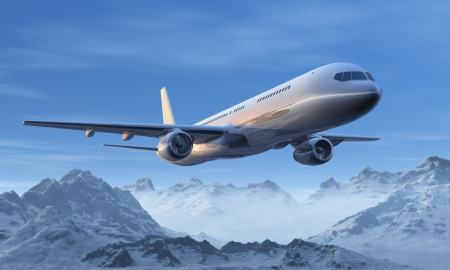 Scenic morning airliner flight over the snowy mountain peaks Stock Photo