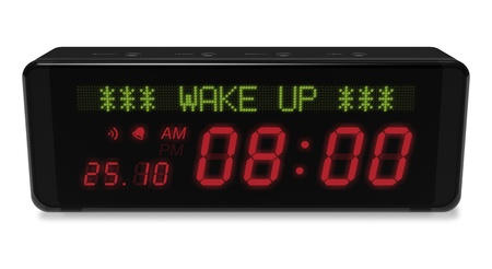 oversleep: Digital alarm clock with LED display isolated on white background
