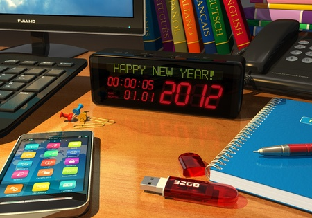 Macro view of digital alarm clock with 'Happy New Year!' message on table among other objects *** DESIGN OF ALL OBJECTS USED IN THIS IMAGE IS MY OWN AND ALL TEXT LABELS ARE FULLY ABSTRACT photo
