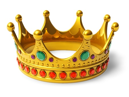 corona rey: Corona real de oro sobre fondo blanco