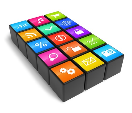 multimedia: Smartphone industry concept: cubes with color application icons isolated on white background Stock Photo