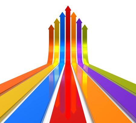 flechas: El aumento de las flechas de colores sobre fondo blanco