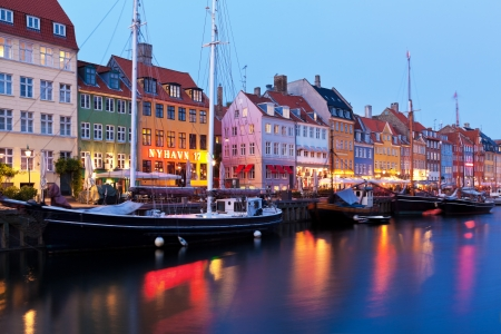 canals: Scenic evening panorama of Historical Nyhavn 17 street in Copenhagen, Denmark