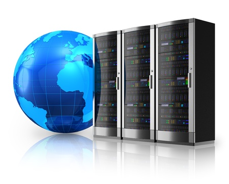 hosts: Internet and global communications concept: row of network servers and blue Earth globe isolated on white reflective background