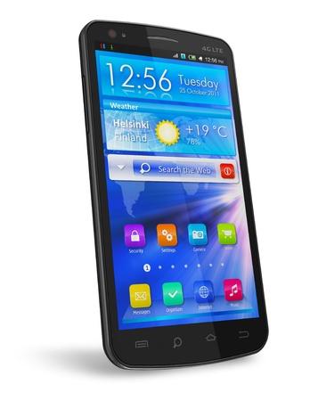 phone button: Zwarte glanzende touchscreen smartphone met blauw-interface op witte achtergrond Stockfoto