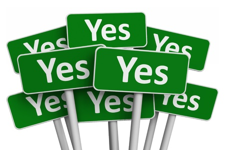 tick symbol: Voting concept: Set of green Yes signs isolated on white background Stock Photo
