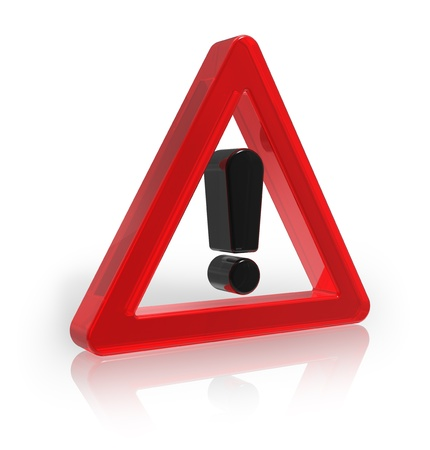 exclamacion: Red señal de advertencia transparente aislada sobre fondo blanco reflectante Foto de archivo