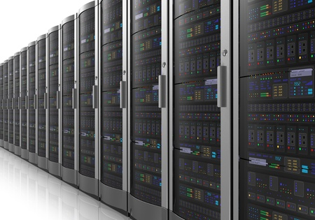 Row of network servers in data center room isolated on white reflective background