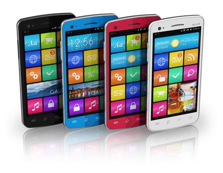 mobile headset: Juego de pantalla t�ctil a color tel�fonos inteligentes Foto de archivo