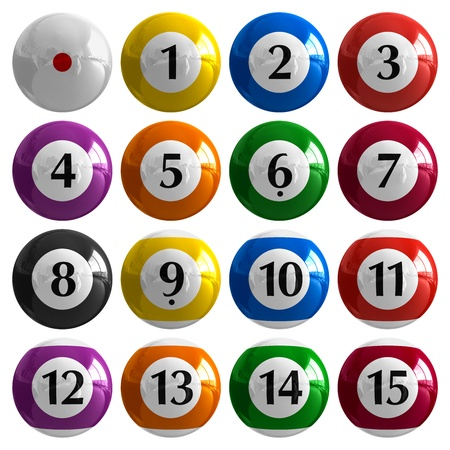 Set of color american billiard balls isolated on white background photo