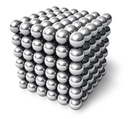 magnetic: Abstract cube from metal balls isolated on white background