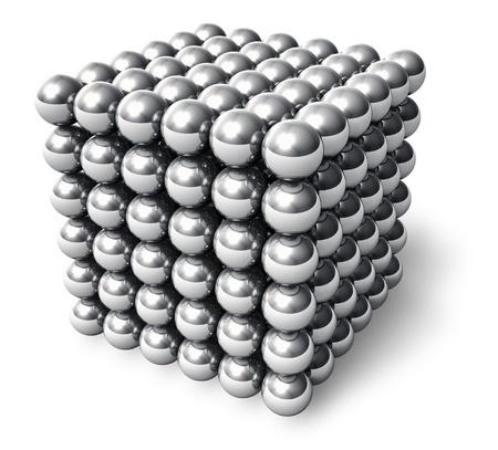 mágnes: Absztrakt kocka fém golyó elszigetelt fehér háttér