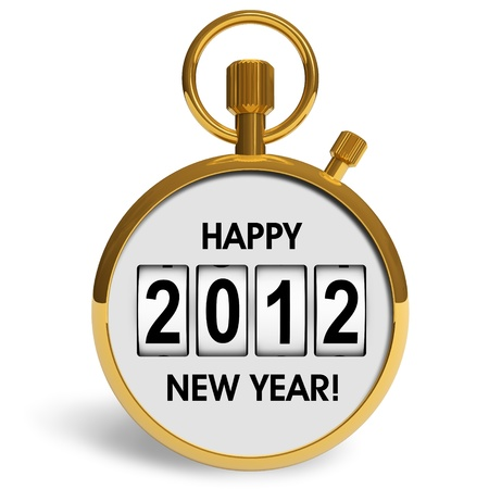 New Year 2012 concept: golden storwatch with greeting text isolated on white background photo