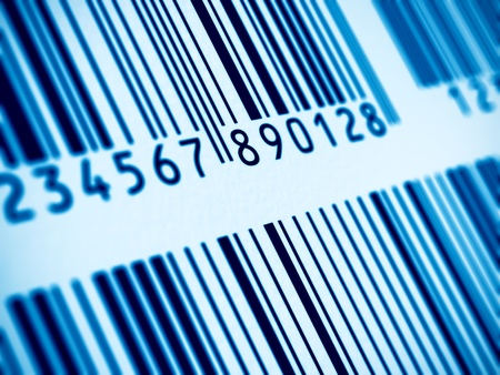 Macro view of blue barcodes photo