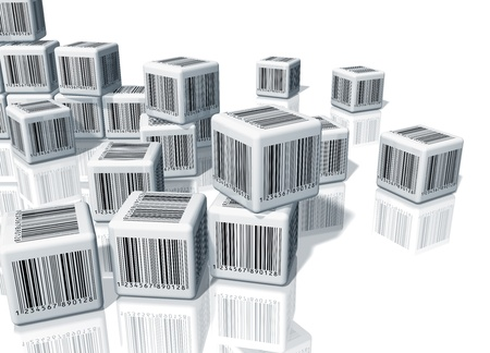 bars code: Heap of white cubes with barcodes on white reflective background Stock Photo