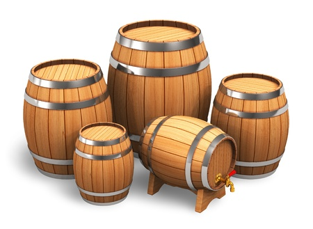 Set of wooden barrels isolated on white background photo