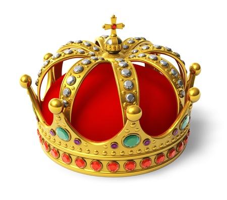 rey: Corona real de oro aislado en el fondo blanco
