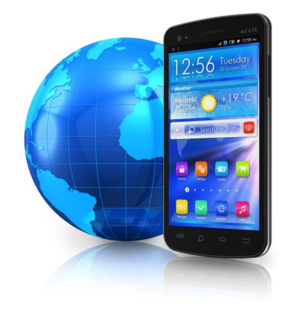 mobile application: Black glossy touchscreen smartphone and blue Earth globe isolated on white reflective background  Stock Photo