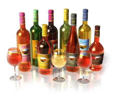 botella de licor: Juego de botellas de vino y el coñac y copas aisladas sobre fondo blanco reflectante